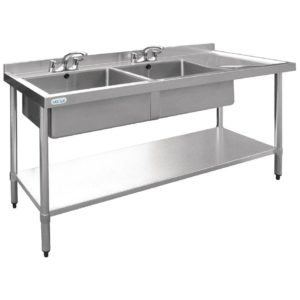 Vogue Stainless Steel Double Bowl Sink RH Drainer 700mm