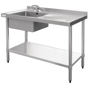 Vogue Stainless Steel Single Bowl Sink RH Drainer